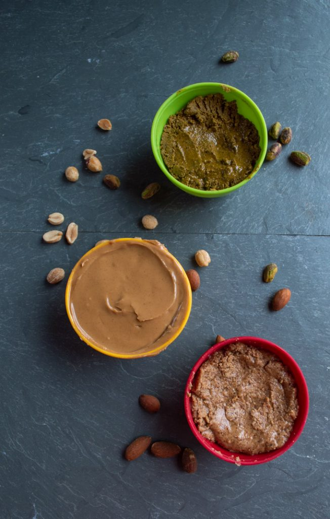 nut butters in bowls