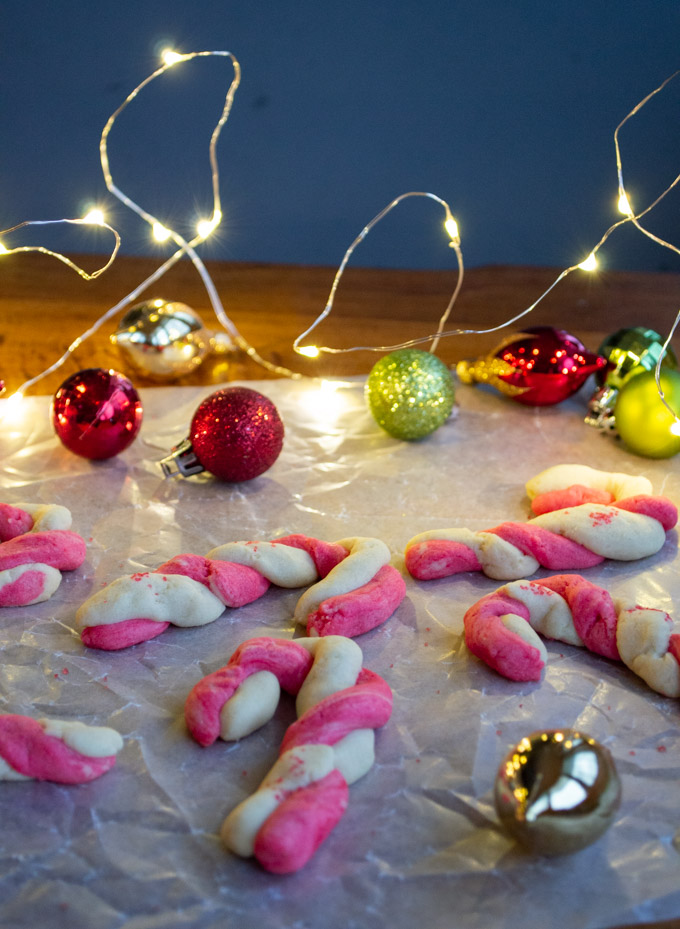 sugar candy cane cookies with lights