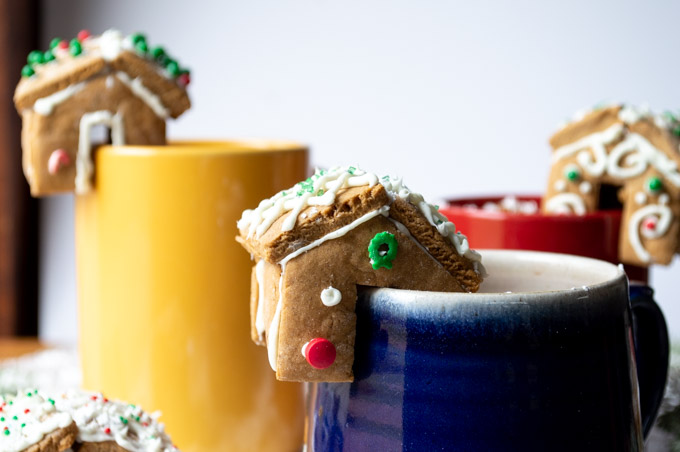 close up of gingerbread houses on mug