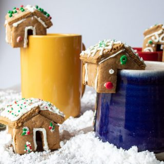 mini gingerbread houses with hot chocolate