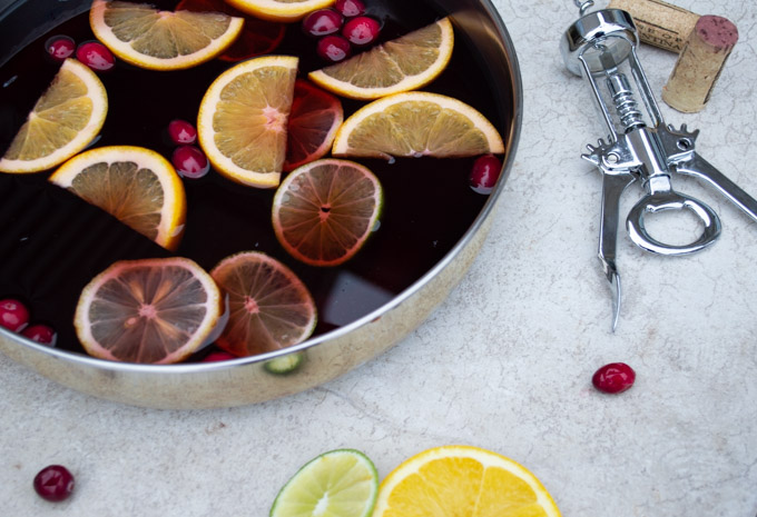 prepping mulled wine