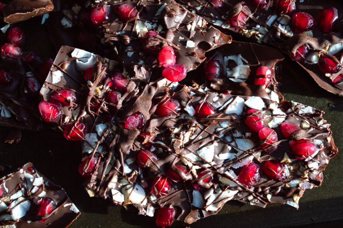 breaking pomegranate bark