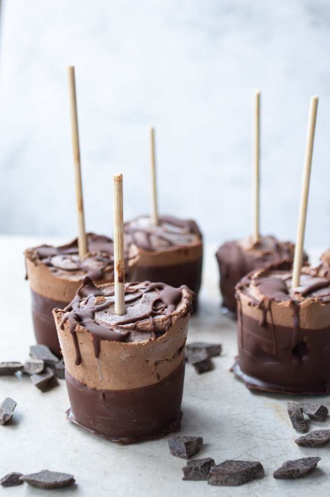 fudgesicles dipped in chocolate with chocolate chunks
