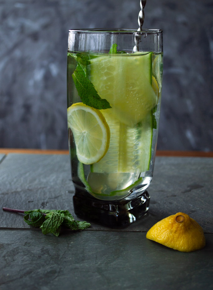 cucumber, mint, lemon water