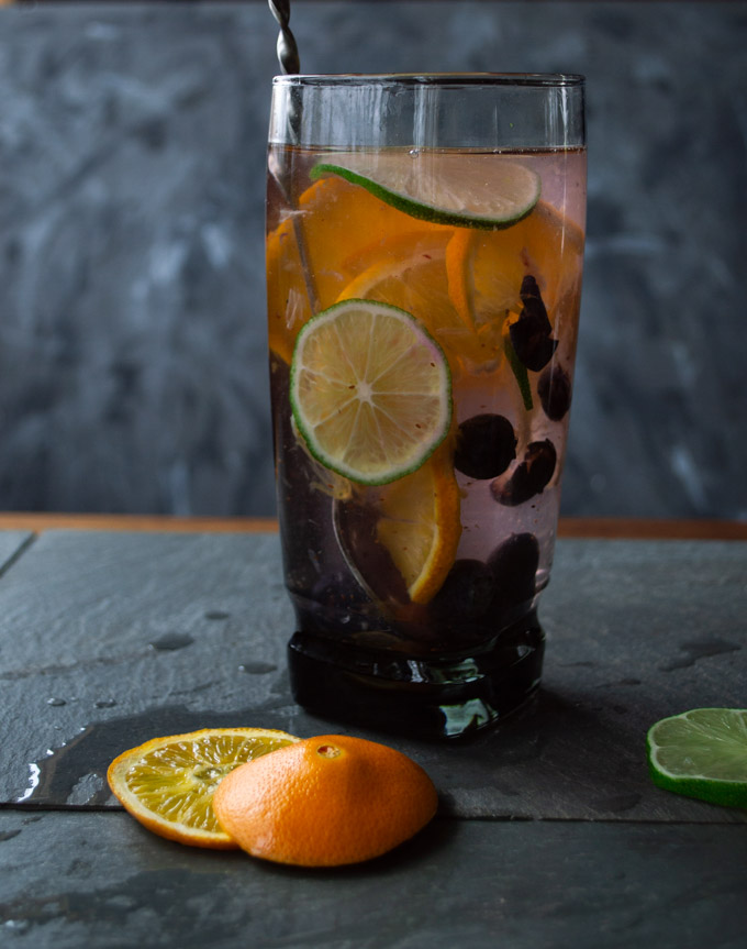 orange, lime, blueberry water
