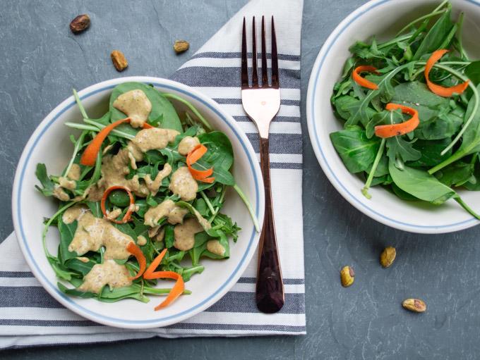 serving pistachio dressing on salad