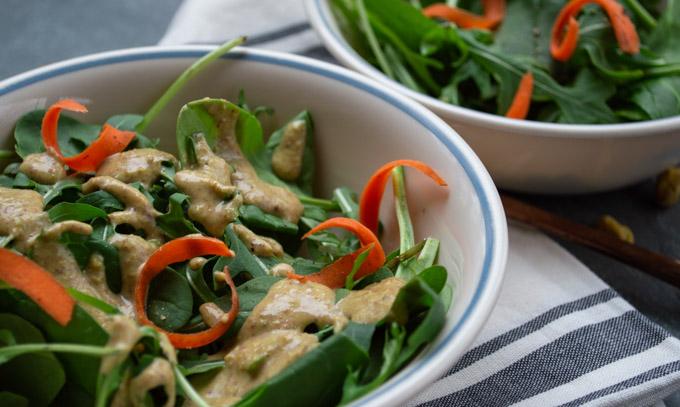 pistachio dressing on salad