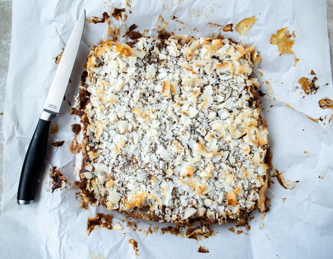 unsliced coconut bars