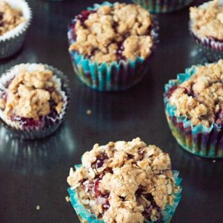 peanut butter and jelly muffins in blue wrapper