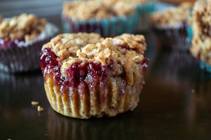 side view unwrapped peanut butter and jelly muffin