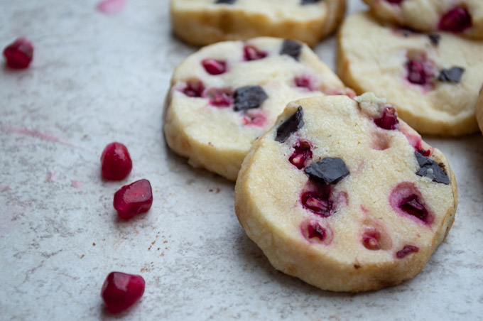 close view of pomegranate chocolate chunk cookies