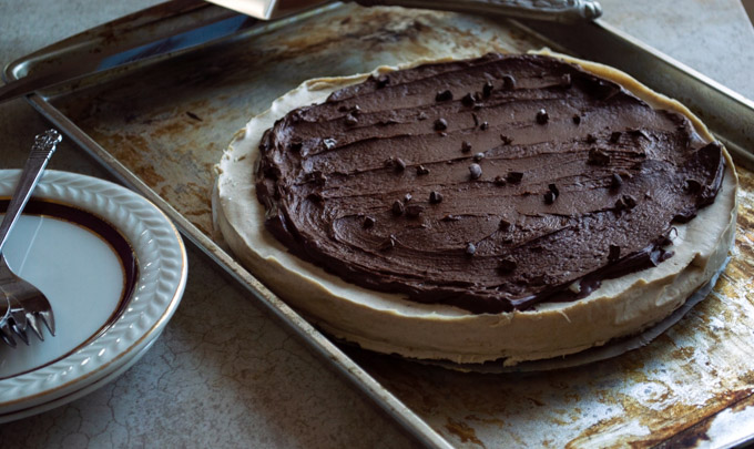 chocolate ganache on cheesecake