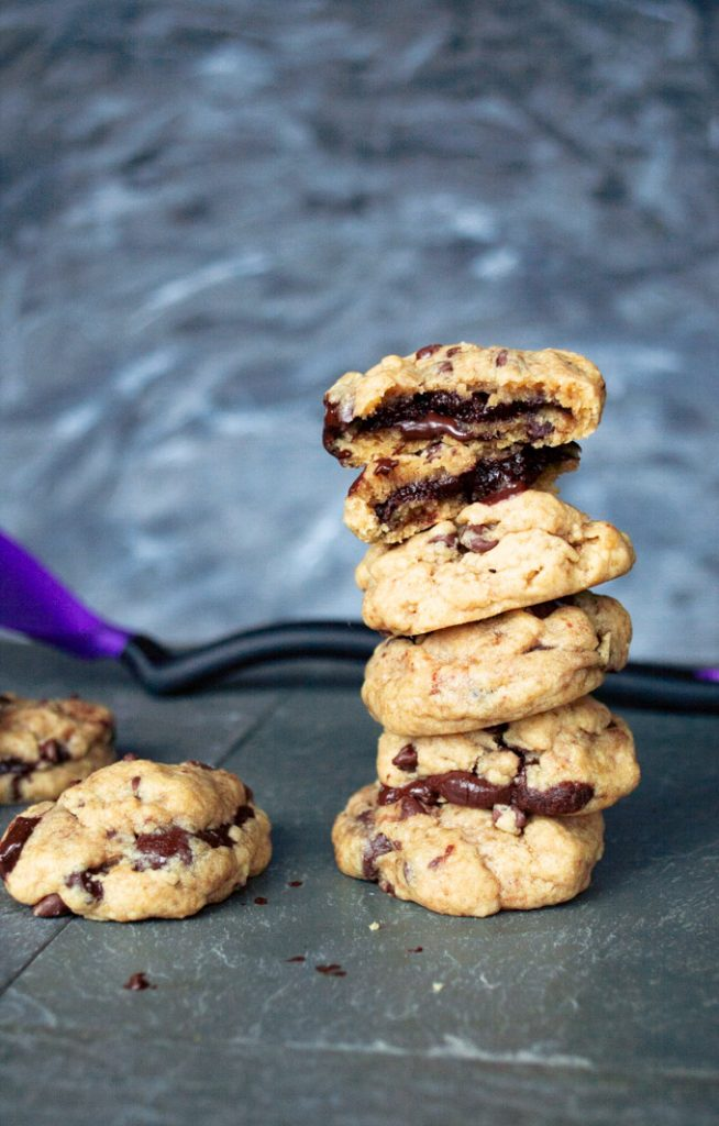 stack of brownie stuffed chocolate chop cookies