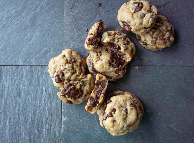 pile of brownie stuffed chocolate chip cookies