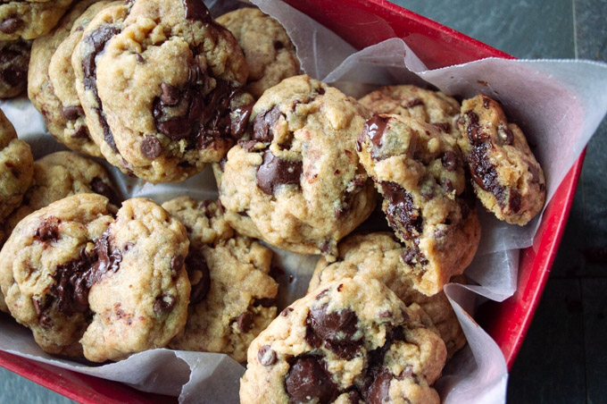 a container of brownie stuffed chocolate chip cookies