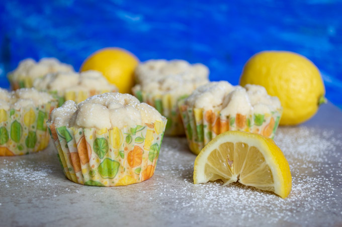 lemon crumb muffins in yellow wrapper