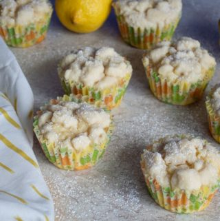angle view of lemon crumb muffins