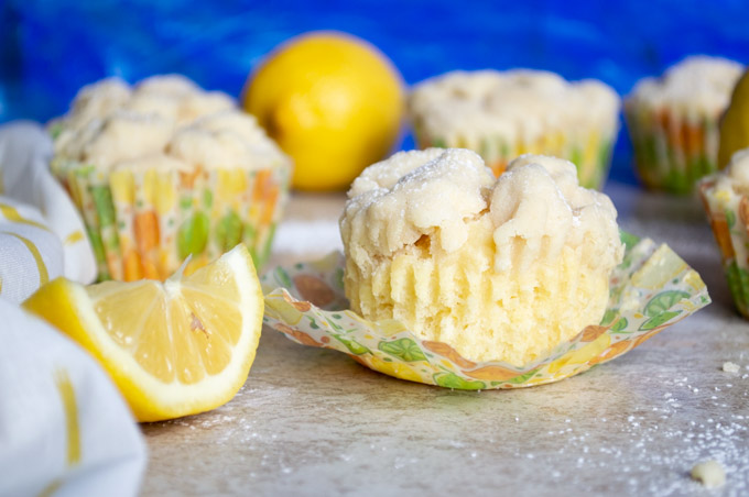 unwrapped lemon crumb muffin