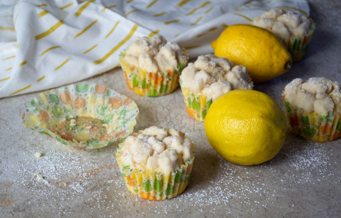 lemon crumb muffin with empty muffin wrapper