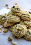 tower of pistachio chocolate chunk cookies