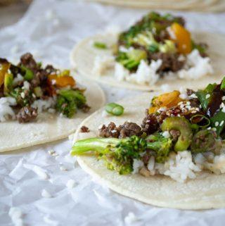 close up view of stir-fry tacos