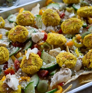 nachos with falafel and vegetables