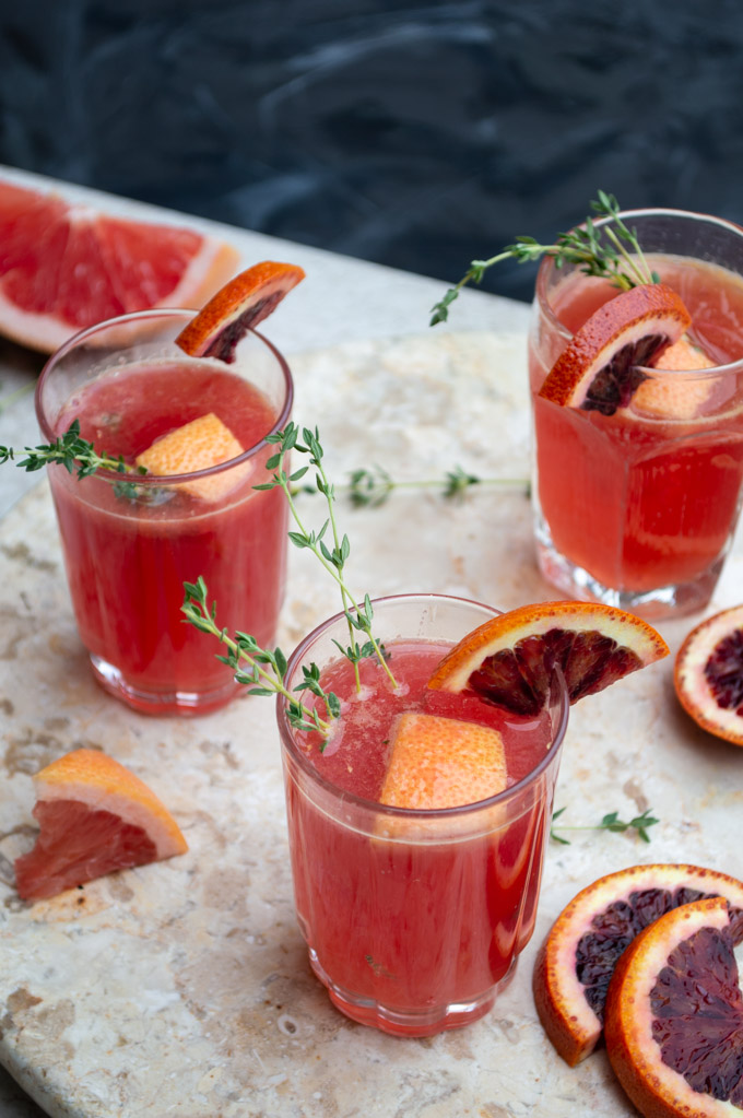 angle view of martha cocktail with blood orange and grapefruit