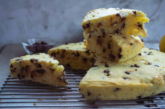 slices of ricotta chocolate chip cake stacked