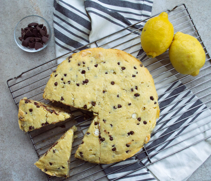 slicing chocolate chip ricotta cake