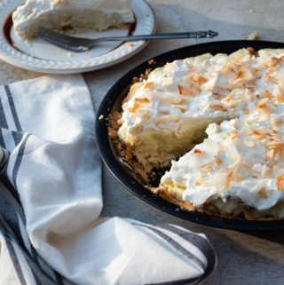 sliced coconut cream pie